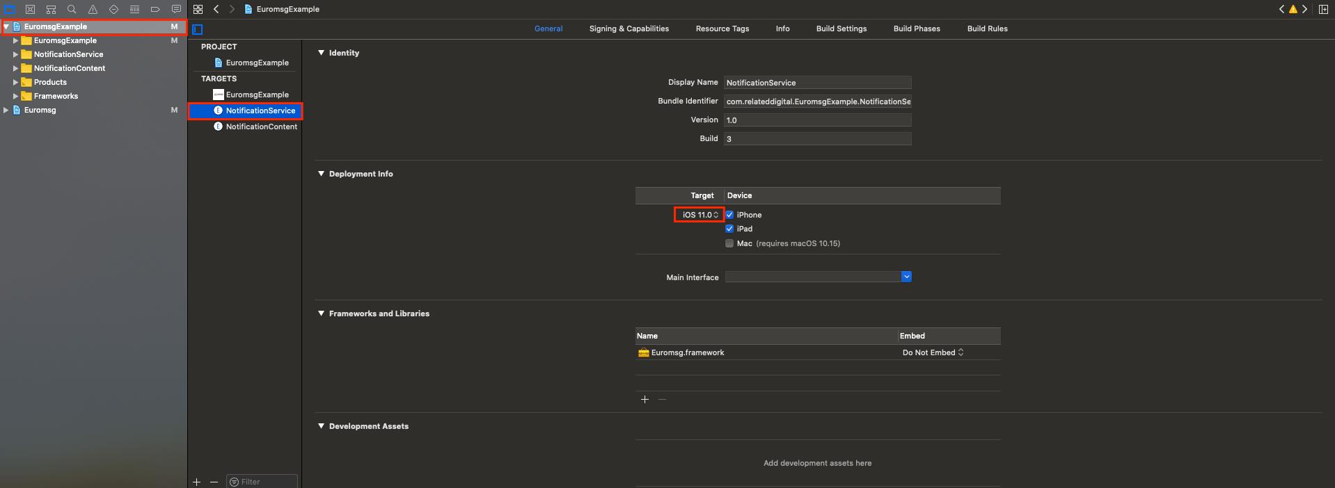 Select deployment target iOS 11.0